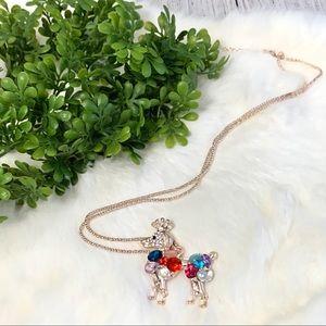 Rhinestone Crowned Dog Necklace
